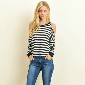 Trendy cold shoulder long sleeve top